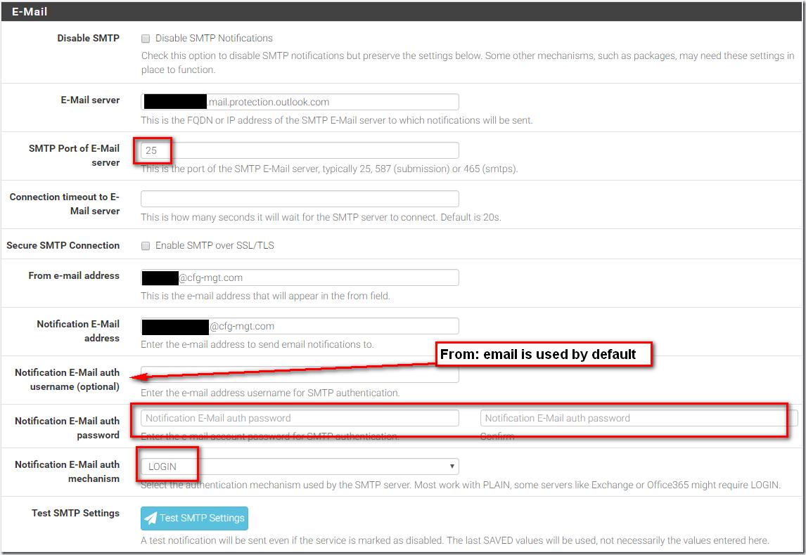 SG-3100 pfSense SMTP Email Configuration
